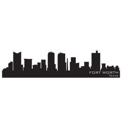 Fort worth texas skyline detailed silhouette vector