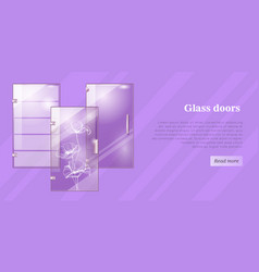 Glass doors conceptual flat web banner vector