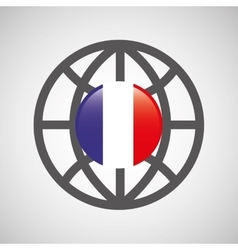 globe sphere flag france country button graphic vector image