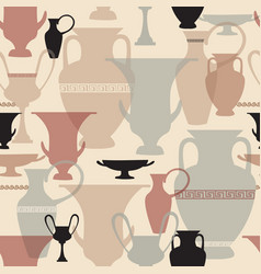 Greek vase seamless pattern interiors background vector