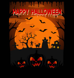 happy halloween background with witch vector image