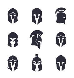 Helmets set spartan greek and roman vector