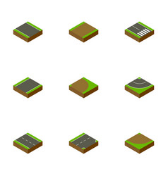 Isometric road set of turn rotation down and vector