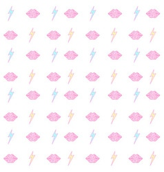 lips and lightning bolt seamless pattern vector image vector image
