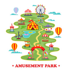 Map of amusement park or circus with attractions vector