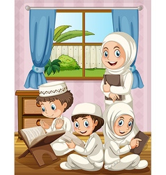 Muslim family praying in the house vector