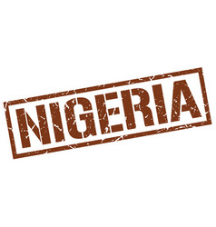 Nigeria brown square stamp vector