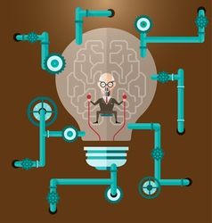 old Business man create ideas concept vector image