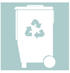 Refuse bin with arrows utilization the white vector
