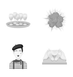 Restaurant stage theaters and other monochrome vector