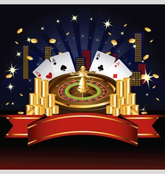 Roulette wheel with coins and cards vector image