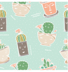 Seamless pattern with cactus in pot with face vector