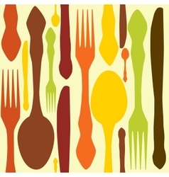 seamless pattern with forks spoons end knifes vector image vector image