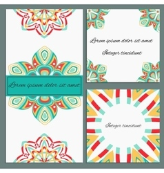Set of greeting cards with ornamental elements vector image vector image