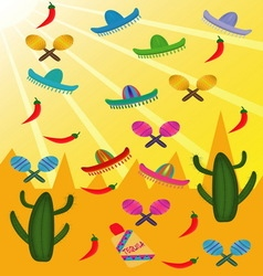 Set of Mexican pictures on the background of vector image vector image