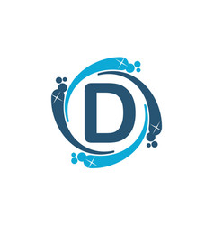 Water clean service abbreviation letter d vector