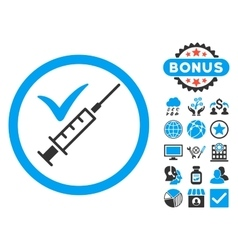 Done vaccination flat icon with bonus vector