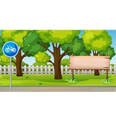 Park scene with bike lane vector