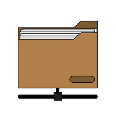 Colorful graphic office folder with documents vector