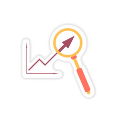 Stylish sticker on paper graph and magnifier vector