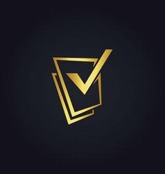square check list gold logo vector image