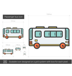 Passenger bus line icon vector