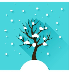 Background with winter tree in flat design style vector