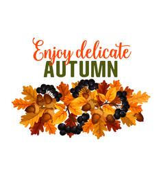 Autumn oak acorn or rowan berry fall poster vector