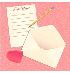 Love letter envelope and heart sticker eps10 vector