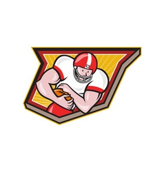 American football running back run shield cartoon vector