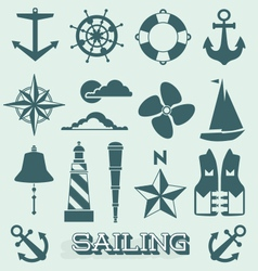 Set sailing icons and symbols vector