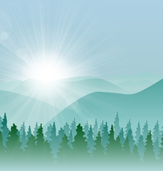 Forest mountain background vector