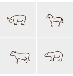 Animals set four cow horn nose horse bear vector
