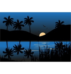 Moonlight over lake vector image