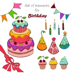 Set of elements for birthday vector