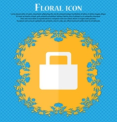 Sale bag floral flat design on a blue abstract vector