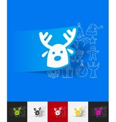 Christmas deer paper sticker with hand drawn vector