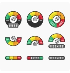 Credit score indicators and gauges vector