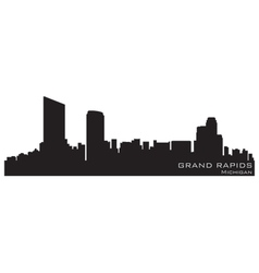 Grand rapids michigan skyline detailed silhouette vector