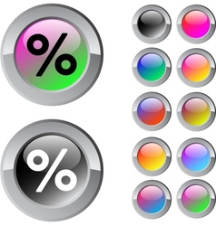 Percent multicolor round button vector