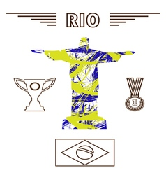Abstract medal and rio design in outlines with sta vector image vector image