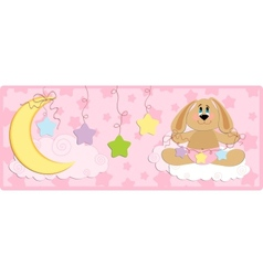 Babys banner or postcard with rabbit vector image vector image
