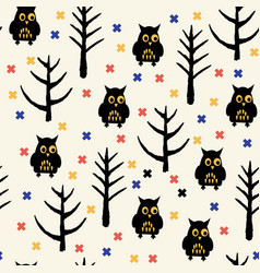 Black owl halloween pattern vector