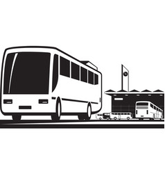 buses arrive and depart at station vector image