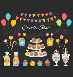 Candy shop with colorful vector