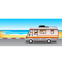 Children riding in camper van to the beach vector