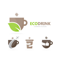 coffee and leaf logo combination drink vector image vector image