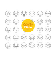 different thin line emoji collection icon set vector image vector image