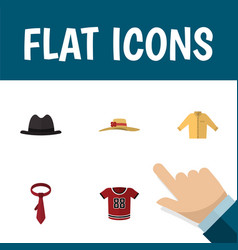 Flat icon garment set of t-shirt elegant headgear vector