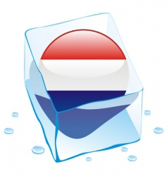 frozen button flag of netherlands vector image vector image
